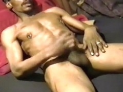 Pierced Gay Black Guy Stroking It