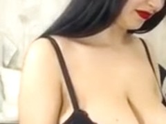 European busty brunette milf teases me on webcam in hot dress