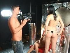 Amazing pornstars Lee Dia and Nicole Evans in incredible threesome, brunette sex scene