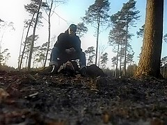 nlboots - outdoors in the wood in rubber boots and jodphurs