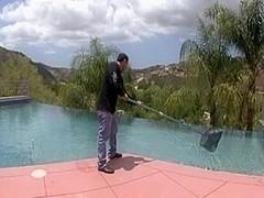 Ebony gal fucks the pool boy
