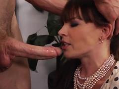Hot brunette prostitute Dana DeArmond sucks a gigantic cock