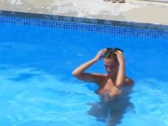 Five lesbian teens by the pool