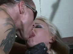 Valerie Follass is fingered by a big biker