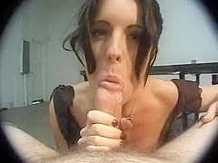 Hot slut sucks cock
