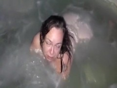 k enjoying hot tub and sucking on my cock