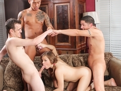 Ashlynn Leigh & Alex Gonz & Keni Styles & Chad Diamond in College Group Sex, Scene #03