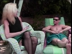 Blonde granny in stockings fucked and facialized