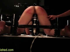 Immobilized sub whipped and spanked