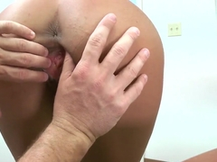 Lyla Storm shows body before playing with cock
