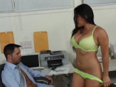 Smoking hot Adrianna Luna seduces her co-worker, Kris Slater, during the launch break