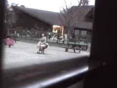 Playful teen on playground flashing her exciting upskirt