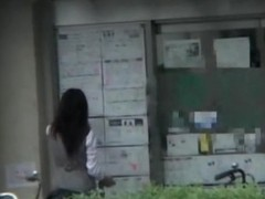 Hot office worker bending over and showing street candid ass
