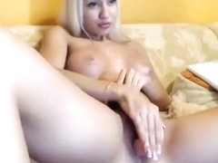 -Vika-: blonde fucks herself with a rubber phallus