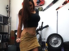 College sexy brunette student gets fucked in Shawns pawn shop