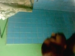 Hidden shower cam gets hot ebony all wet and soapy