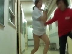 Slim legged girl in the Japanese sharking action