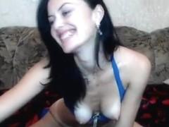 Naked brunette AelitaLuv on the couch