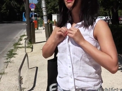 Euro babe takes money and big dick outdoor