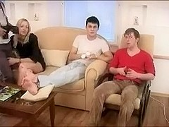 Two slim babes first time orgy