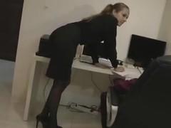 Hot blonde secretary in hose
