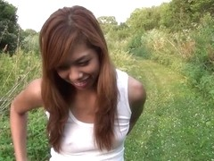 hot local asian chick stripping down out in public