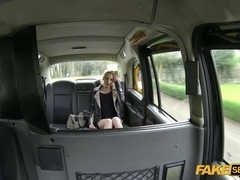 Horny Blonde April takes a free ride in a fake taxi