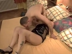 Hot blond milf fucks her older neighbour
