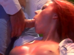 Sexy redhead Alexandra gets her shaved taco licked