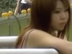 Little Asian princess minding her own business during quick sharking scene