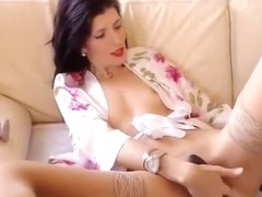 Sexyaylin4u masturbates on a white sofa