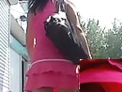 Pants up pink petticoat