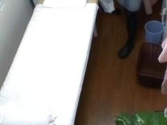 Bushy pussy girl gets orgasm from massage voyeur fingering