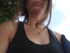 college girl flashing and masturbating in a park