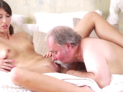 beautiful lady loves getting fucked by old man (HD)