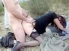 Amateur public sex during a picnic
