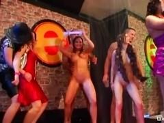 Wet lesbians eats muffs in the club
