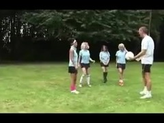 Four British Schoolgirls are very nice to their PE teacher