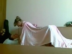 Russian girl rides her bf on the sofa
