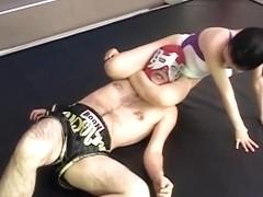 Hot Jap wrestler tortures her sparring partner