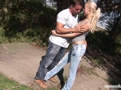 Blond teen Dolly fuck outdoors