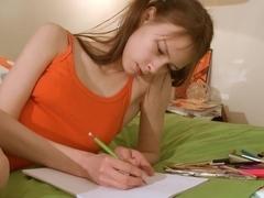 Nasty homework of fashionable teenager