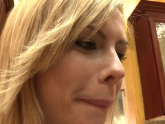 Smiling blonde Tara Lynn Foxx enjoys huge black dick