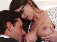 Hot Brooklyn sucking and fucking hard on the office desk