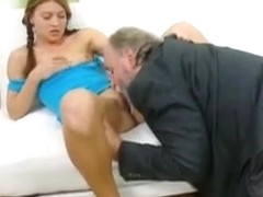 Anna has her shaved pussy eaten out by her older man and loves younger pussy