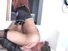Uniform tranny dominates white guy with ass