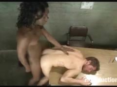 Black Tranny Cums On Male Asses!