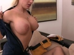 Horny blonde Keiran Lee fuck with cableman, she wait too long for his cock