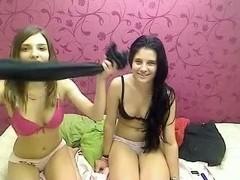 Amateur lesbians experiment nude