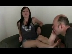 latin babe getting footworshiped